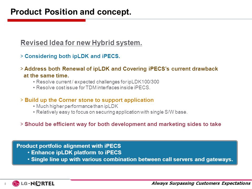 Always Surpassing Customers Expectations 8 Revised Idea for new Hybrid system. > Considering both ipLDK and iPECS. > Address both Renewal of ipLDK and