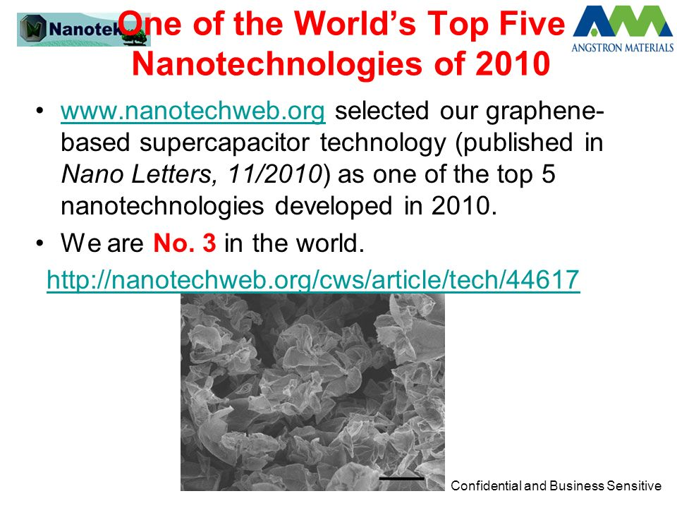 Confidential and Business Sensitive One of the Worlds Top Five Nanotechnologies of 2010 www.nanotechweb.org selected our graphene- based supercapacito