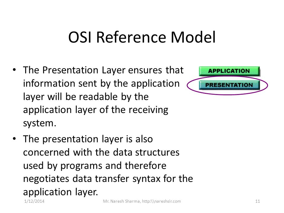 OSI Reference Model The Presentation Layer ensures that information sent by the application layer will be readable by the application layer of the rec