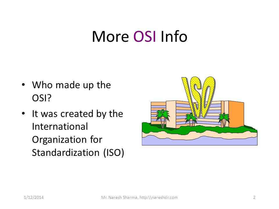 More OSI Info Who made up the OSI? It was created by the International Organization for Standardization (ISO) 1/12/20142Mr. Naresh Sharma, http:\\nare