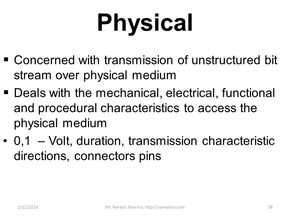 Physical Concerned with transmission of unstructured bit stream over physical medium Deals with the mechanical, electrical, functional and procedural