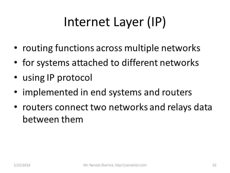 Internet Layer (IP) routing functions across multiple networks for systems attached to different networks using IP protocol implemented in end systems