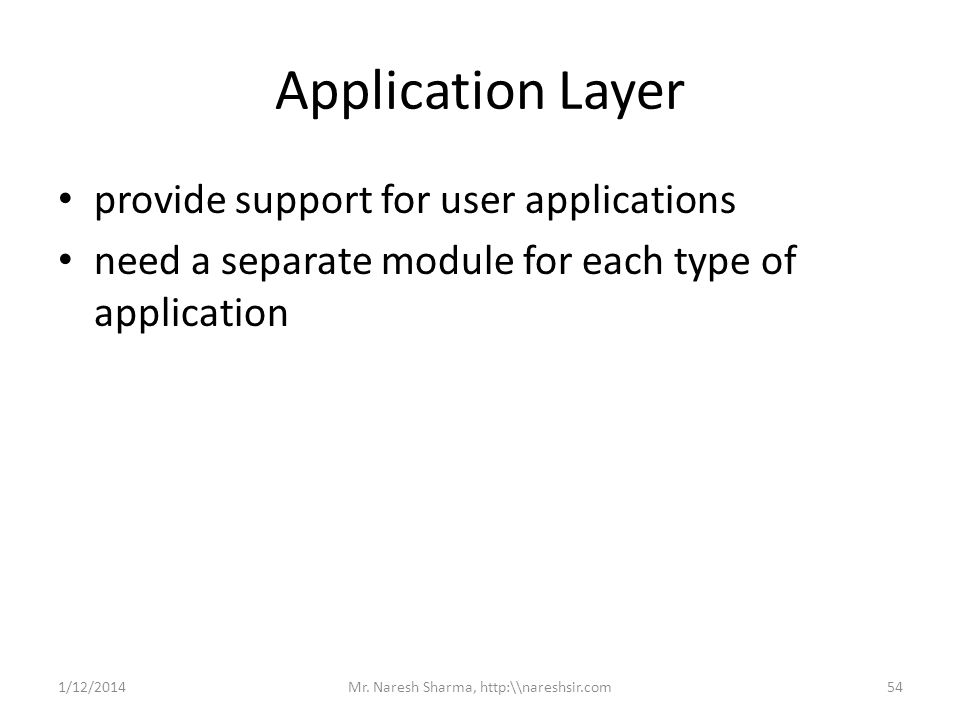 Application Layer provide support for user applications need a separate module for each type of application 1/12/201454Mr. Naresh Sharma, http:\\nares
