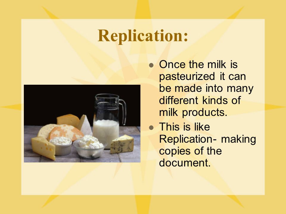 Replication: Once the milk is pasteurized it can be made into many different kinds of milk products. This is like Replication- making copies of the do