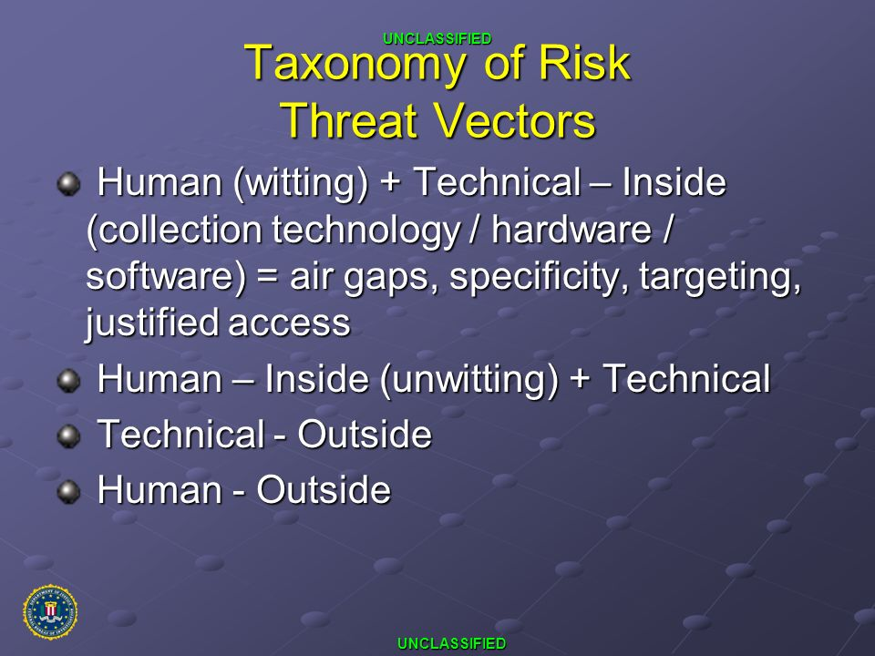 UNCLASSIFIED UNCLASSIFIED Taxonomy of Risk Threat Vectors Human (witting) + Technical – Inside (collection technology / hardware / software) = air gap