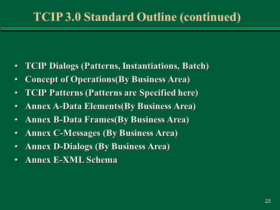 23 TCIP 3.0 Standard Outline (continued) TCIP Dialogs (Patterns, Instantiations, Batch)TCIP Dialogs (Patterns, Instantiations, Batch) Concept of Operations(By Business Area)Concept of Operations(By Business Area) TCIP Patterns (Patterns are Specified here)TCIP Patterns (Patterns are Specified here) Annex A-Data Elements(By Business Area)Annex A-Data Elements(By Business Area) Annex B-Data Frames(By Business Area)Annex B-Data Frames(By Business Area) Annex C-Messages (By Business Area)Annex C-Messages (By Business Area) Annex D-Dialogs (By Business Area)Annex D-Dialogs (By Business Area) Annex E-XML SchemaAnnex E-XML Schema