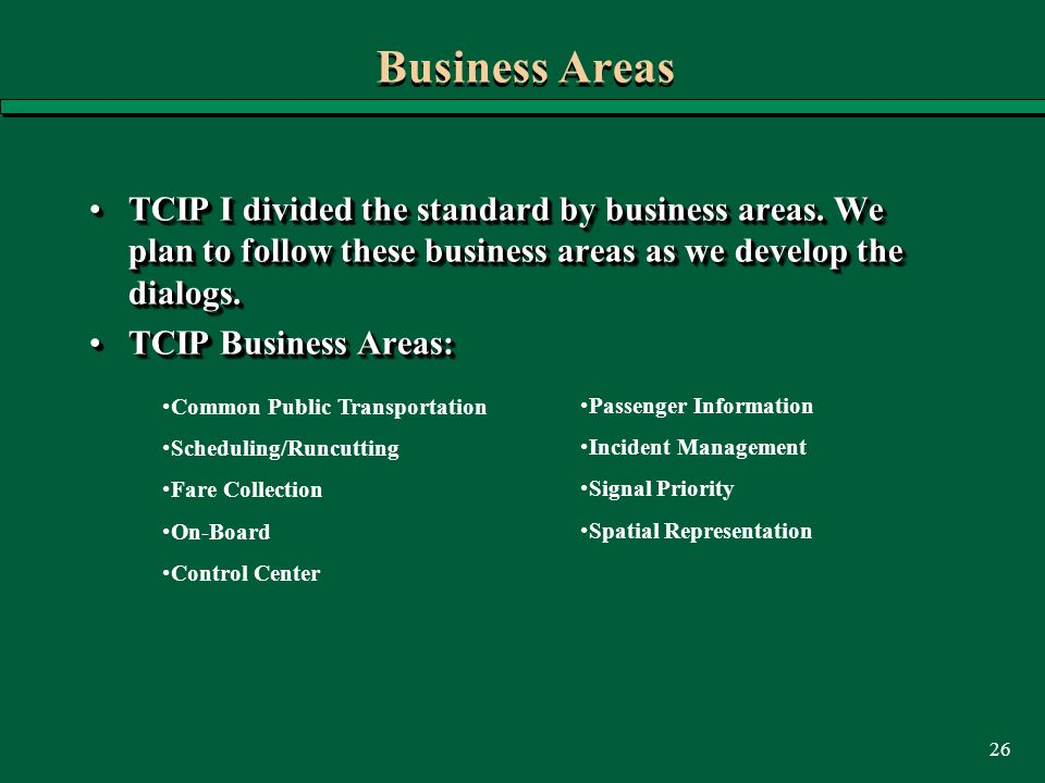 26 Business Areas TCIP I divided the standard by business areas. We plan to follow these business areas as we develop the dialogs.TCIP I divided the s