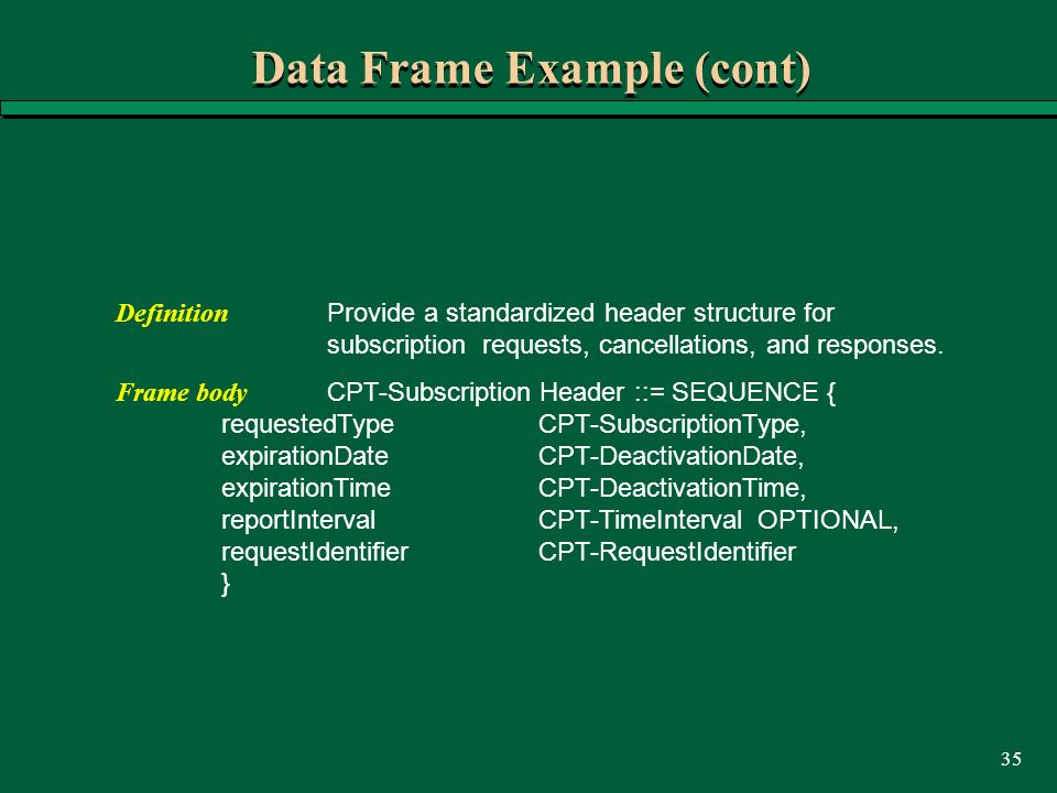 35 Data Frame Example (cont) Definition Provide a standardized header structure for subscription requests, cancellations, and responses. Frame body CP