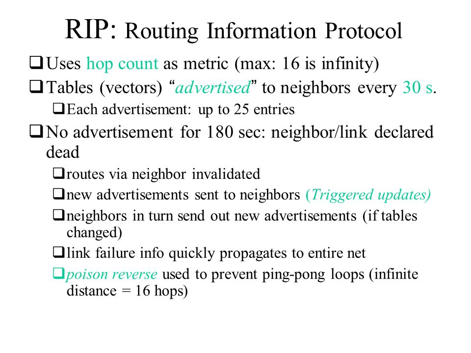 Routing Information Protocol (RIP v1) 1 2 1 metric Command (1-6)Version0 Address Family 0 32-bit IP address 0 0 24 more routes