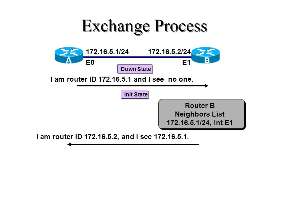 Exchange Process 172.16.5.1/24 E0 172.16.5.2/24 E1 Router B Neighbors List 172.16.5.1/24, int E1 I am router ID 172.16.5.1 and I see no one. Down Stat