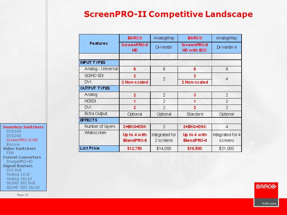 Page 20 ScreenPRO-II Competitive Landscape Seamless Switchers DCS100 DCS200 ScreenPRO-II HD Encore Video Switchers FSN Format Converters ImagePRO-HD S