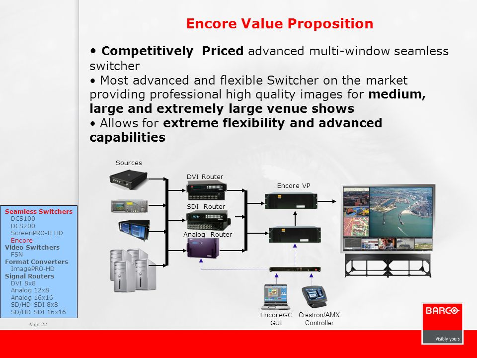 Page 22 Encore Value Proposition Competitively Priced advanced multi-window seamless switcher Most advanced and flexible Switcher on the market provid