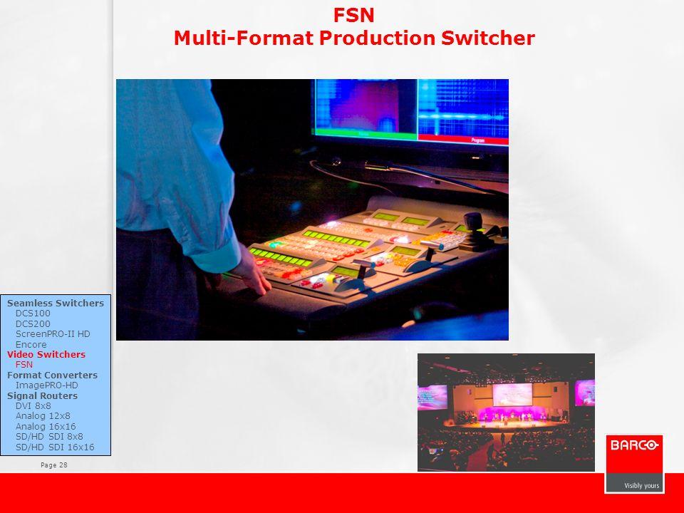 Page 28 FSN Multi-Format Production Switcher Seamless Switchers DCS100 DCS200 ScreenPRO-II HD Encore Video Switchers FSN Format Converters ImagePRO-HD