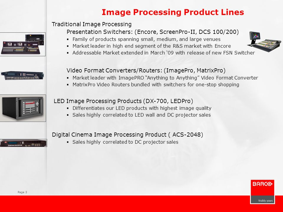 Page 3 Traditional Image Processing Presentation Switchers: (Encore, ScreenPro-II, DCS 100/200) Family of products spanning small, medium, and large v