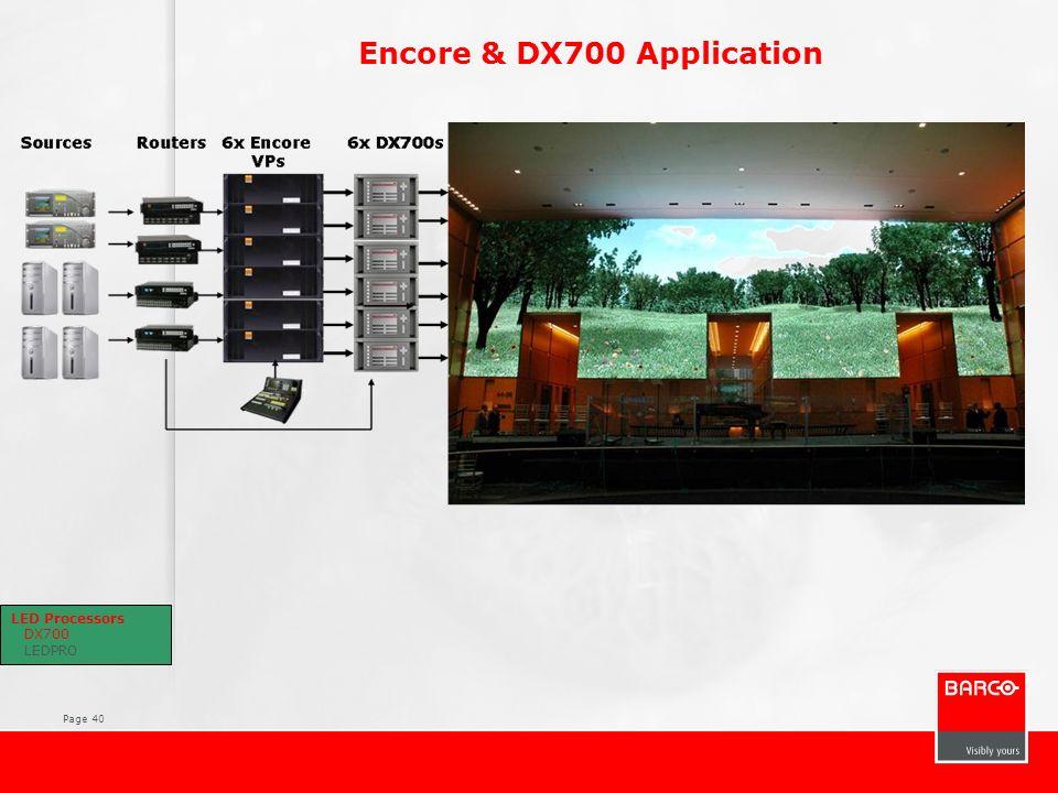 Page 40 Encore & DX700 Application LED Processors DX700 LEDPRO