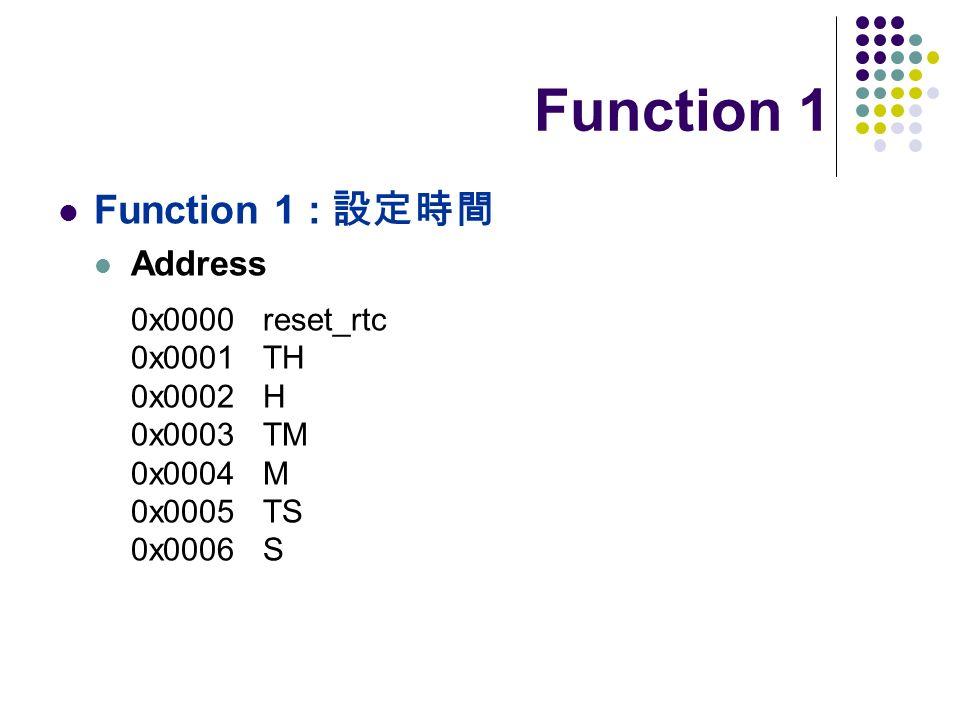 Function 1 Function 1 : Address 0x0000 reset_rtc 0x0001 TH 0x0002 H 0x0003 TM 0x0004 M 0x0005 TS 0x0006 S
