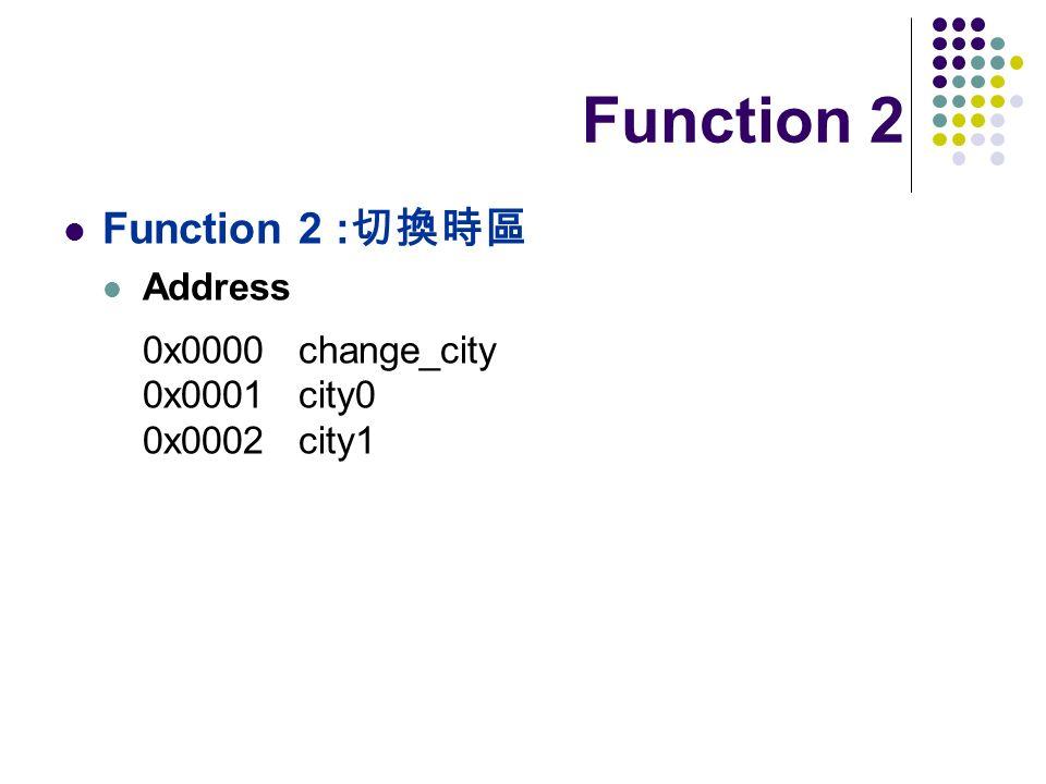Function 2 Function 2 : Address 0x0000 change_city 0x0001 city0 0x0002 city1