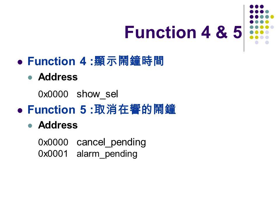 Function 4 & 5 Function 4 : Address 0x0000 show_sel Function 5 : Address 0x0000 cancel_pending 0x0001 alarm_pending