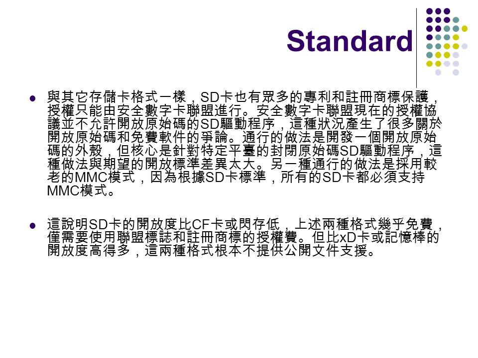 SD SD SD MMC SD SD MMC SD CF xD Standard