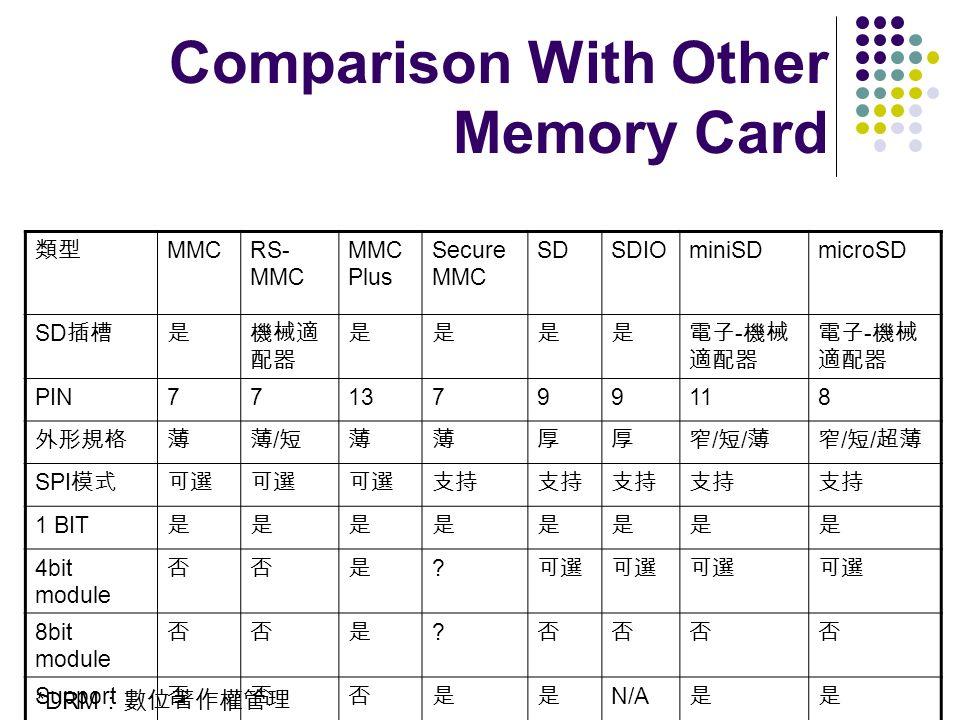 MMCRS- MMC MMC Plus Secure MMC SDSDIOminiSDmicroSD SD - - PIN7713799118 / / / SPI 1 BIT 4bit module ? 8bit module ? Support DRM* N/A Comparison With O