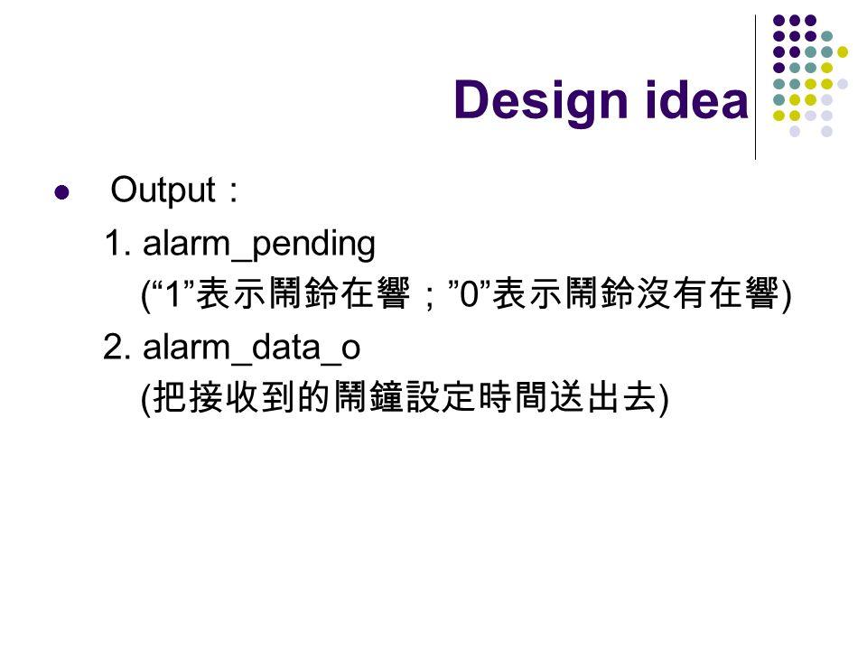 Output 1. alarm_pending (10 ) 2. alarm_data_o ( ) Design idea