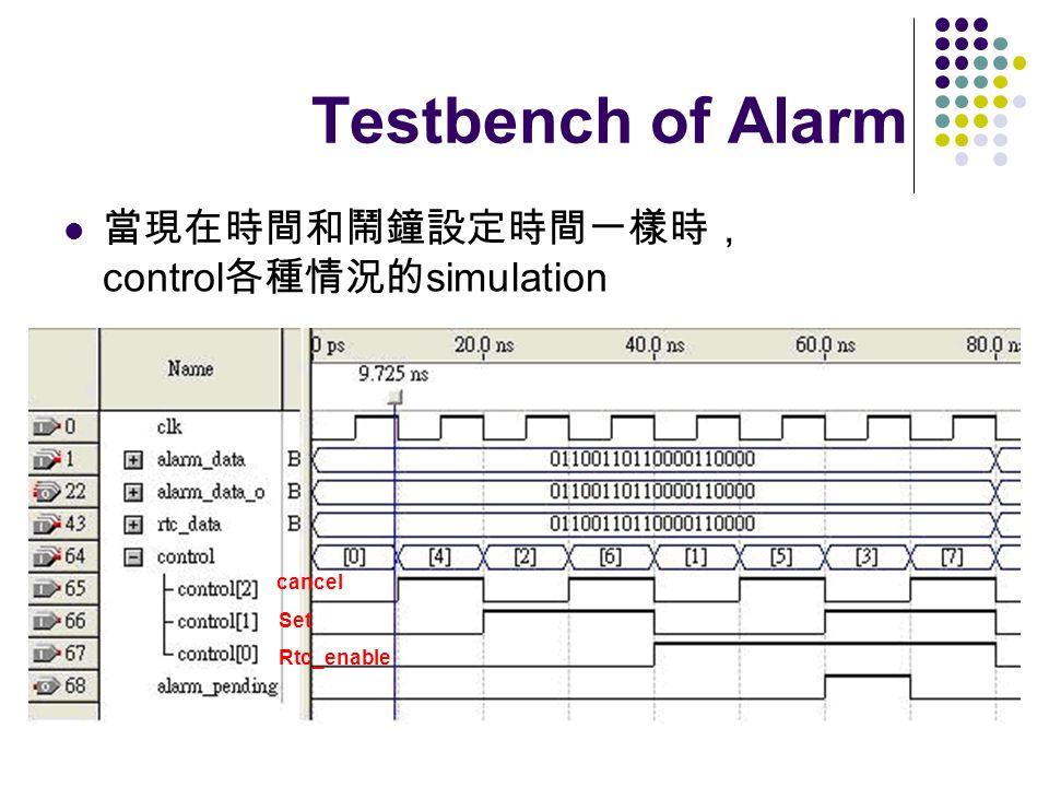 Testbench of Alarm control simulation cancel Set Rtc_enable