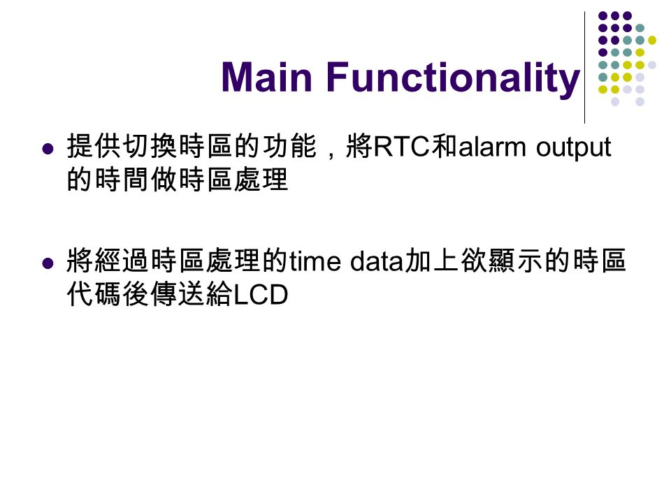 Main Functionality RTC alarm output time data LCD