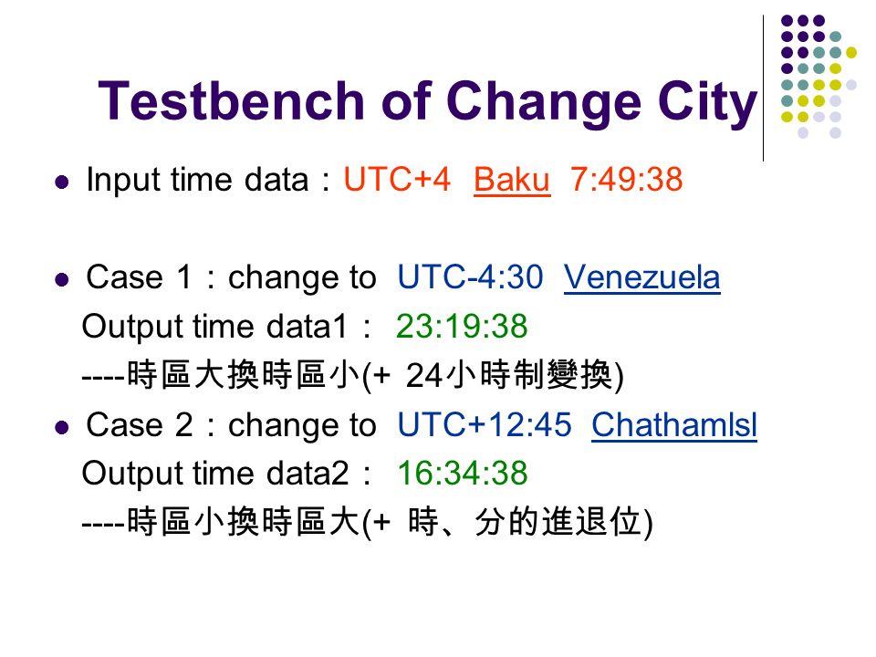Testbench of Change City Input time data UTC+4 Baku 7:49:38 Case 1 change to UTC-4:30 Venezuela Output time data1 23:19:38 ---- (+ 24 ) Case 2 change