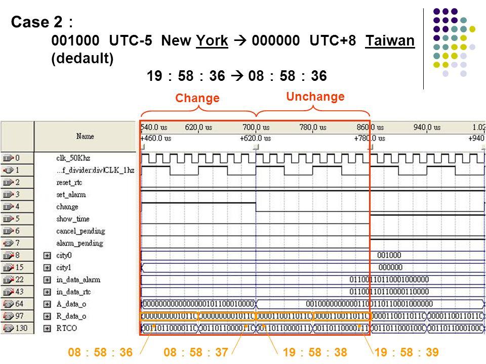 Case 2 001000 UTC-5 New York 000000 UTC+8 Taiwan (dedault) 19 58 36 08 58 36 08 58 3608 58 3719 58 3819 58 39 Change Unchange