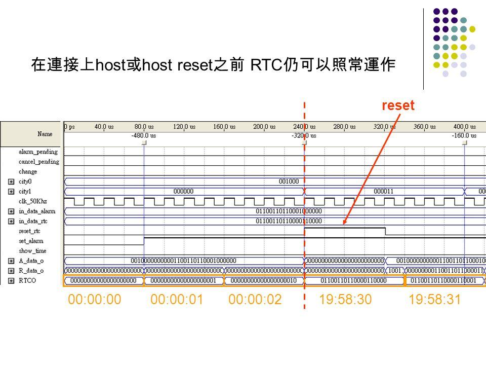 00:00:00 00:00:01 00:00:02 19:58:30 19:58:31 reset host host reset RTC