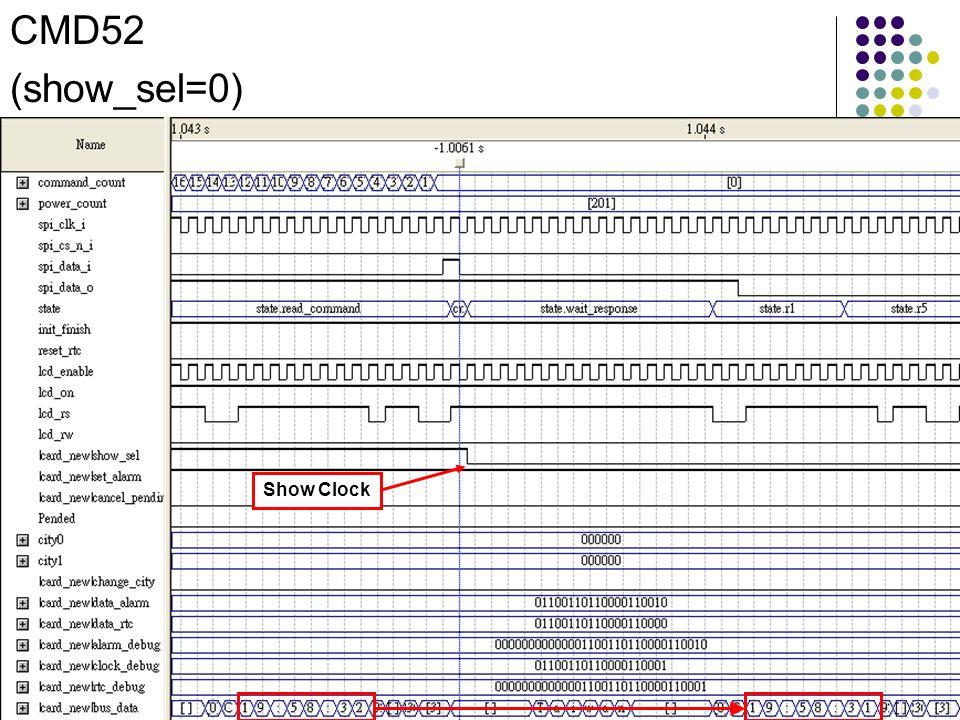 Show Clock CMD52 (show_sel=0)