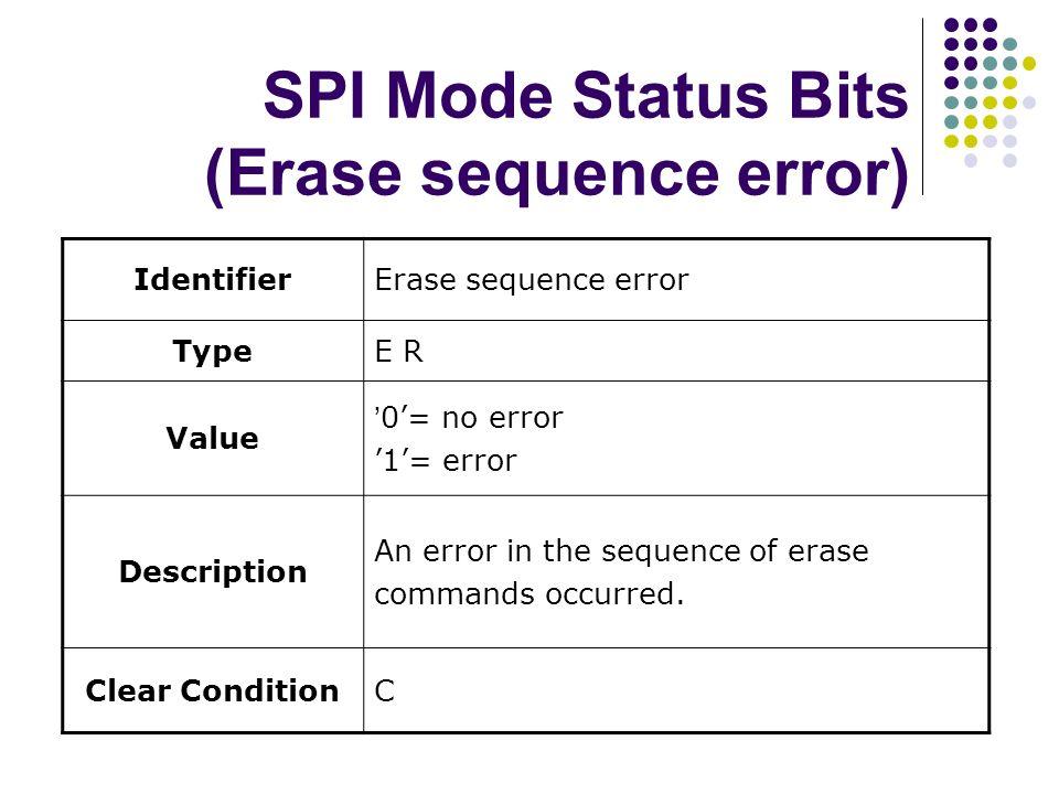 SPI Mode Status Bits (Erase sequence error) IdentifierErase sequence error TypeE R Value 0= no error 1= error Description An error in the sequence of