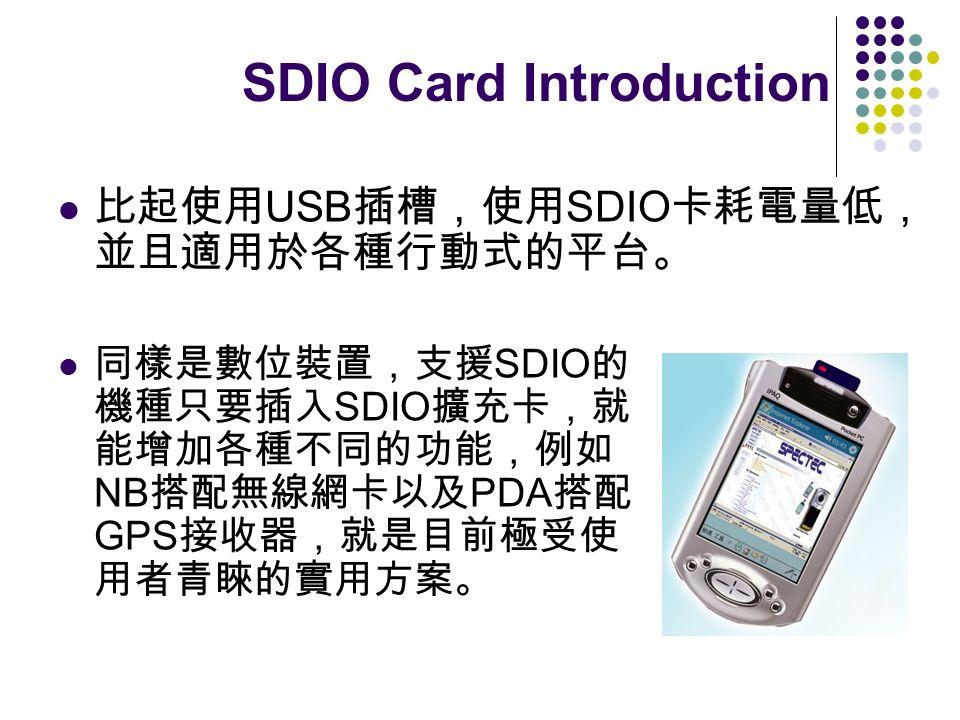 USB SDIO SDIO SDIO NB PDA GPS SDIO Card Introduction