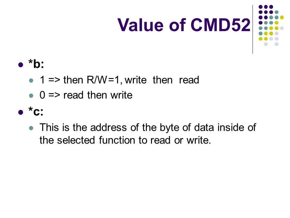 *b: 1 => then R/W=1, write then read 0 => read then write *c: This is the address of the byte of data inside of the selected function to read or write