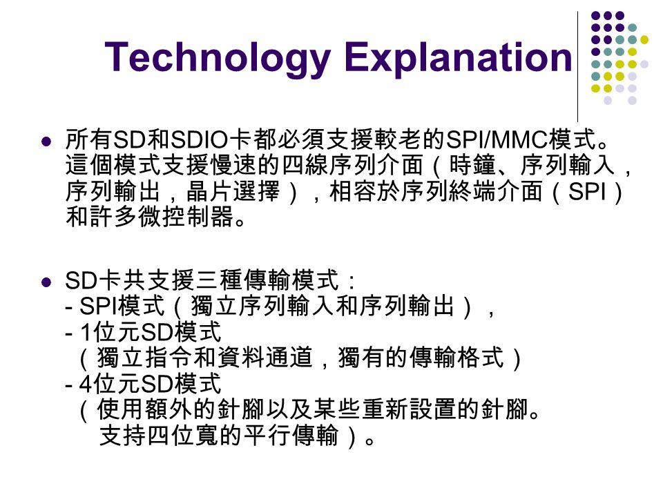 Technology Explanation SD SDIO SPI/MMC SPI SD - SPI - 1 SD - 4 SD