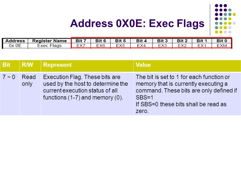 Address 0X0E: Exec Flags BitR/WRepresentValue 7 ~ 0Read only Execution Flag. These bits are used by the host to determine the current execution status