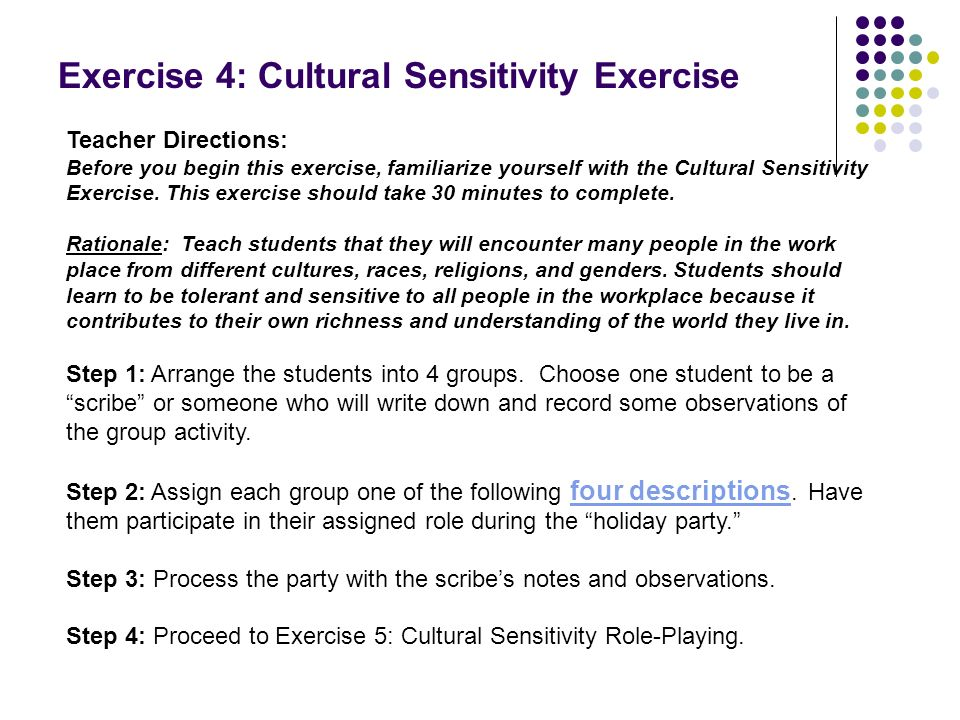 Exercise 4: Cultural Sensitivity Exercise Teacher Directions: Before you begin this exercise, familiarize yourself with the Cultural Sensitivity Exerc