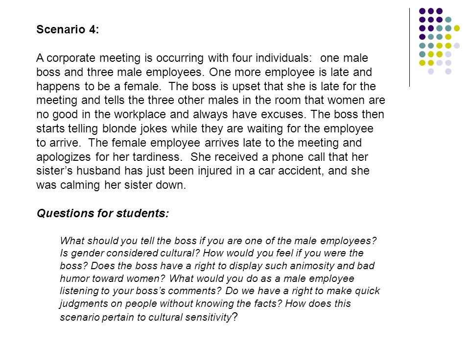 Scenario 4: A corporate meeting is occurring with four individuals: one male boss and three male employees. One more employee is late and happens to b