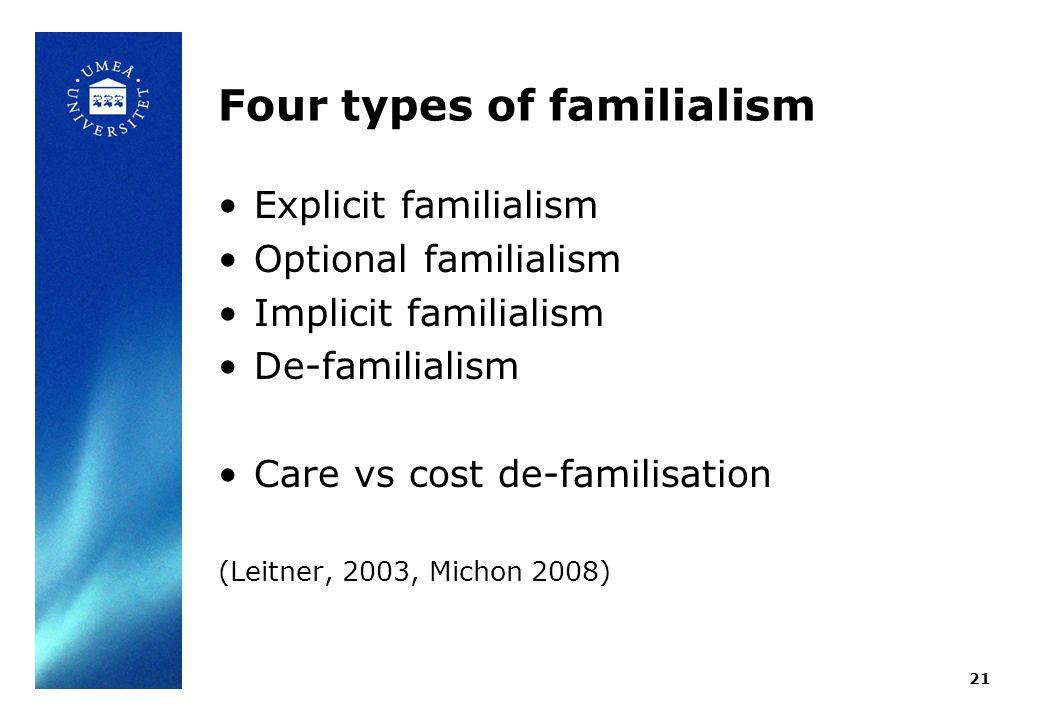 Four types of familialism Explicit familialism Optional familialism Implicit familialism De-familialism Care vs cost de-familisation (Leitner, 2003, Michon 2008) 21