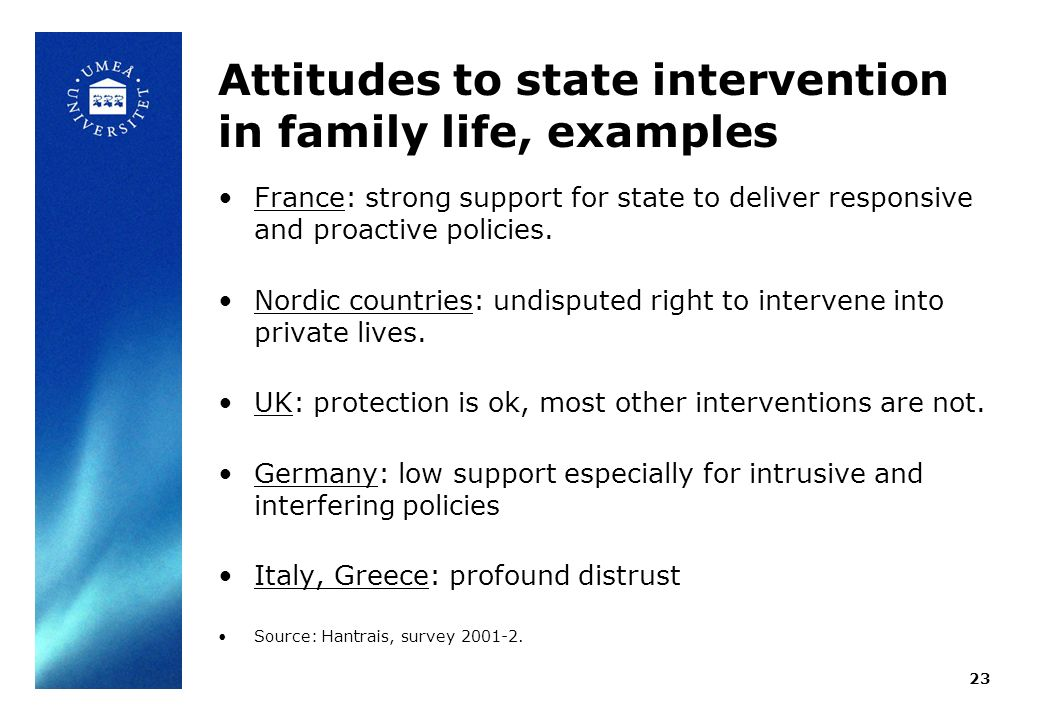 Attitudes to state intervention in family life, examples France: strong support for state to deliver responsive and proactive policies. Nordic countri