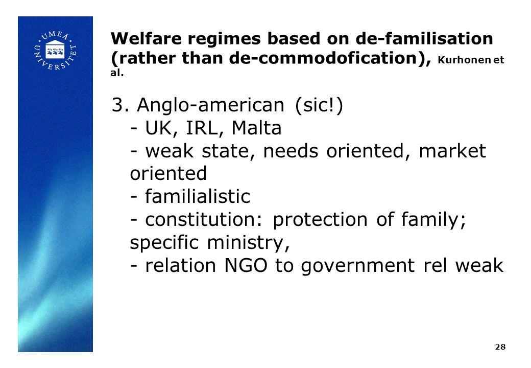 Welfare regimes based on de-familisation (rather than de-commodofication), Kurhonen et al.