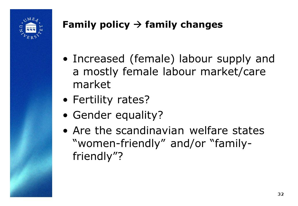 Family policy family changes Increased (female) labour supply and a mostly female labour market/care market Fertility rates.