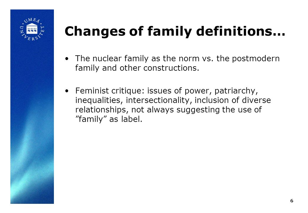 Changes of family definitions… The nuclear family as the norm vs. the postmodern family and other constructions. Feminist critique: issues of power, p