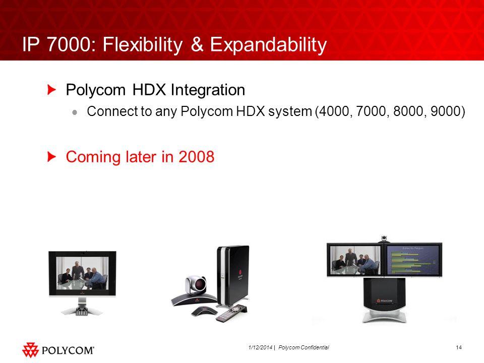 141/12/2014 | Polycom Confidential IP 7000: Flexibility & Expandability Polycom HDX Integration Connect to any Polycom HDX system (4000, 7000, 8000, 9