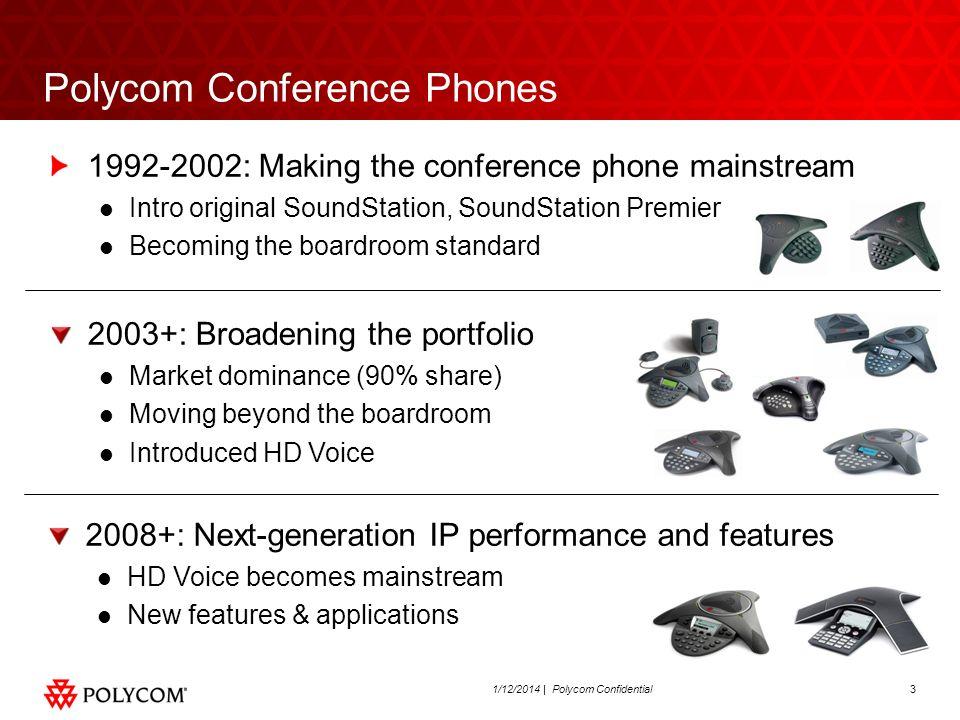 31/12/2014 | Polycom Confidential Polycom Conference Phones 1992-2002: Making the conference phone mainstream Intro original SoundStation, SoundStatio