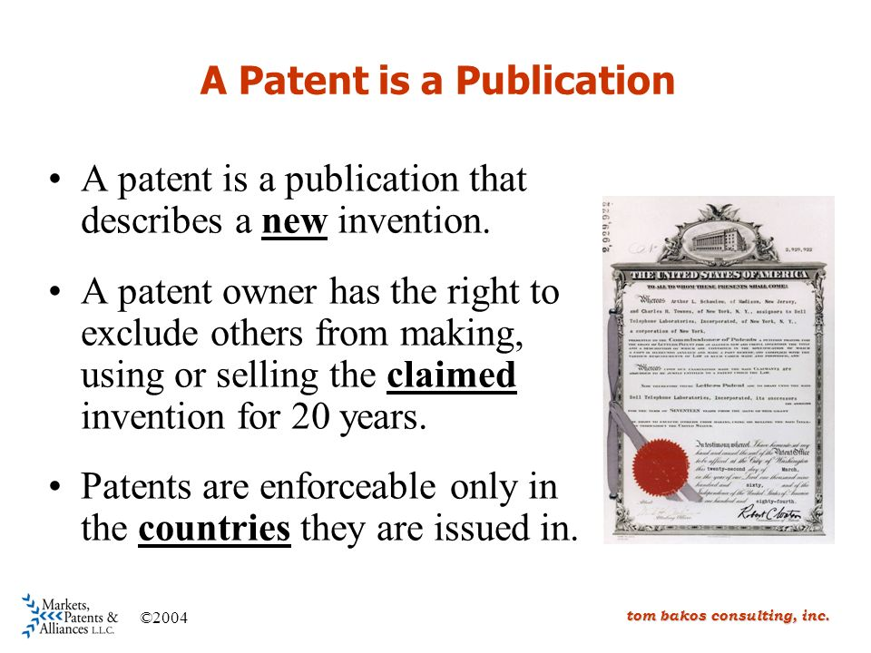 A Patent is a Publication A patent is a publication that describes a new invention.