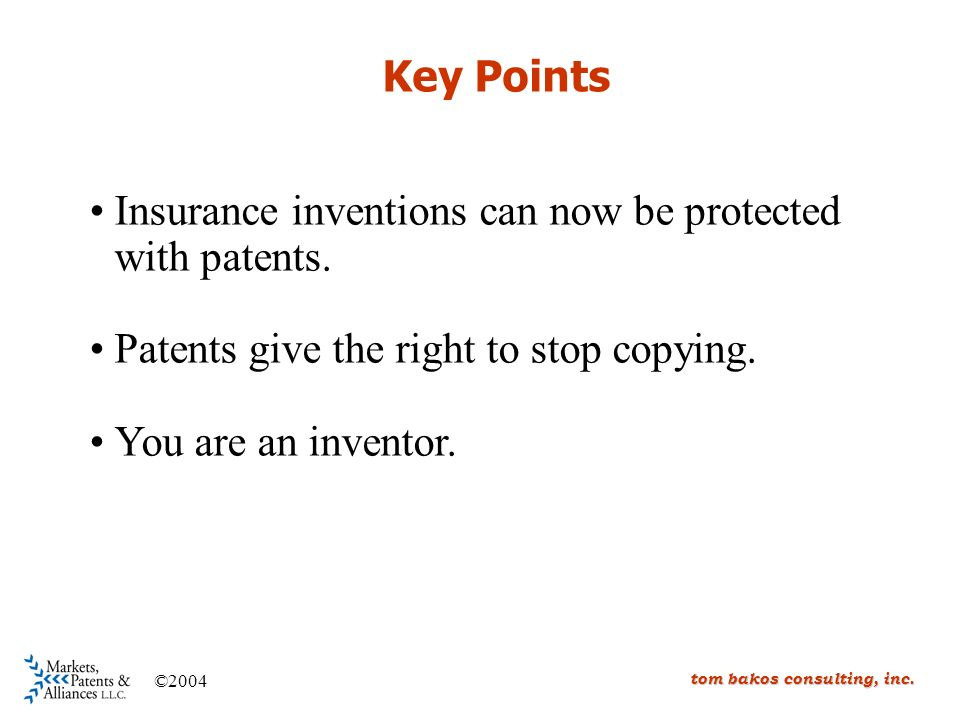 Key Points Insurance inventions can now be protected with patents.