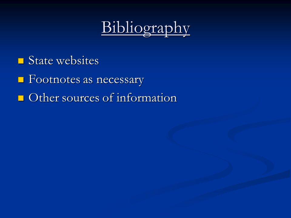 Bibliography State websites State websites Footnotes as necessary Footnotes as necessary Other sources of information Other sources of information