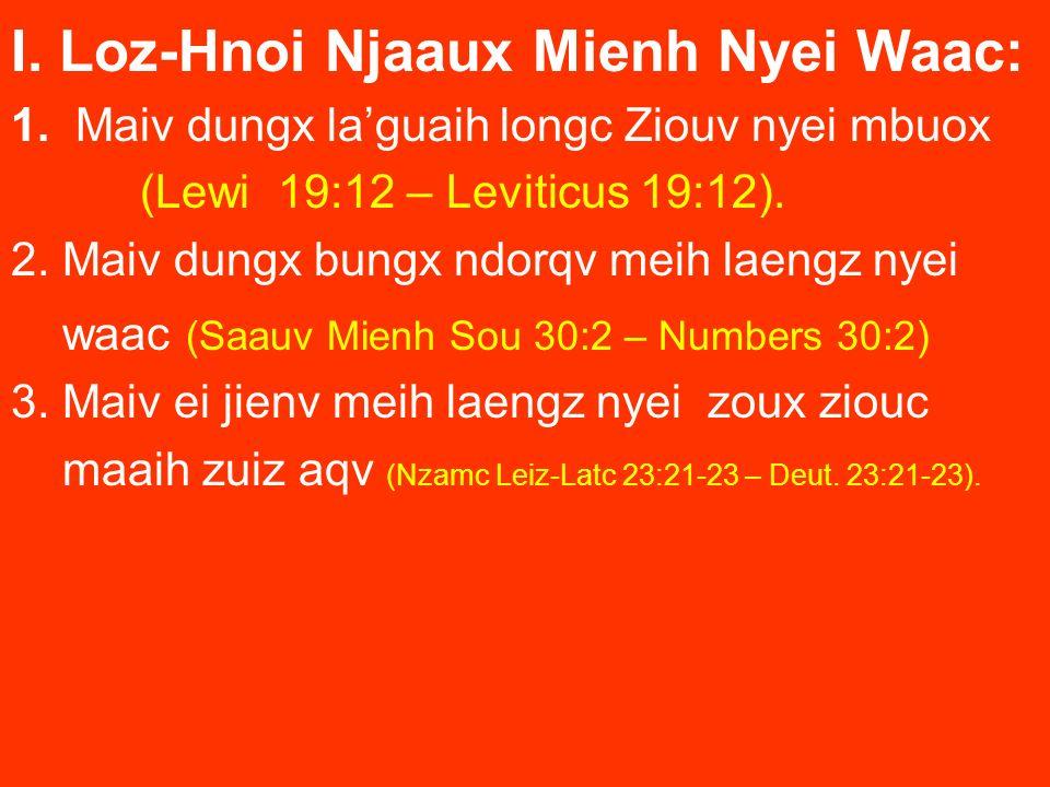 I. Loz-Hnoi Njaaux Mienh Nyei Waac: 1. Maiv dungx laguaih longc Ziouv nyei mbuox (Lewi 19:12 – Leviticus 19:12). 2. Maiv dungx bungx ndorqv meih laeng