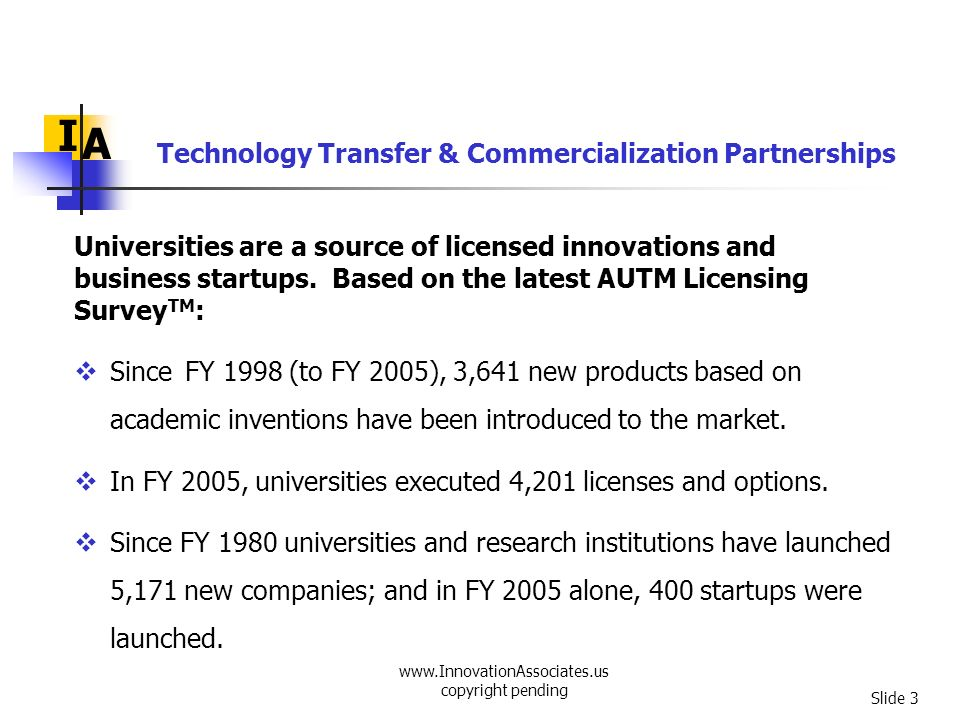 www.InnovationAssociates.us copyright pending Slide 4 In the past two decades, technology transfer and commercialization activities in universities have sky- rocketed.
